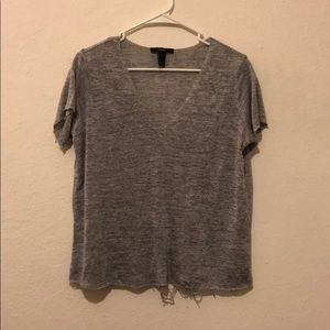 Grey Distressed V Neck T